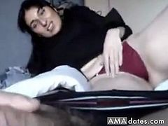 Beautiful woman with black colored hair gives superb blowjob to her hubby as her husband pushed to suck deep into his dick.