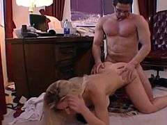 Blonde swallows Peter North's load