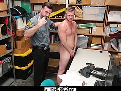 Seeing a nice, shiny, (small) necklace, this dumb lug thinks he can pull a fast one by putting it in his his butt! Too bad for him, this particular Loss Prevention Officer loves nothing more than a good, thorough cavity search. So much so that even after he finds the lost item, he feels the urge to keep getting up in there! The perp has a choice: take the guy's cock up his ass or have his girlfriend visit him in the slammer