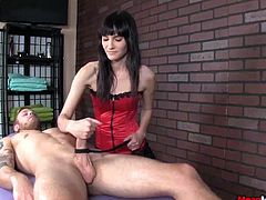 It was all a normal massage this dude was enjoying after so much pressure with days of work until he asked for a massage with a happy ending. The skinny masseuse is a tough one and she wants to dominate the whole thing. She offers him a power play handjob while hurting him with a strap tied hard on cock.