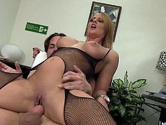 She wants to secure it by fucking her boss. Showing up to work in slutty clothes was just the start, as today shes wearing a full fishnet body suit that shows off her curves, and Mr. Anderson is so pleased, he pulls his huge penis out of her pussy and lets her smell it before jizzing all over her face.