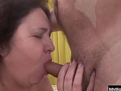 Today is her birthday and her sweet husband always fucks her on their anniversary and birthday so, after drying herself off, she comes out and gives him a blowjob to get his limp dick up, before she lays on top of him and screws him until he squirts cum on her big boobs.