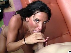 She found this cub laying around being lazy and put him to work by making his cock stand straight up with her talented tongue. He penetrates her wet pussy with his long spear from below and then even more from behind before he cums on Lezleys mature slutty face.