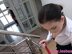Lesbea School uniform teen strap on fucked by big tits maid