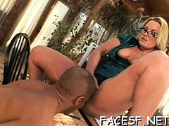 Hawt honey gives a footjob while fingering herself