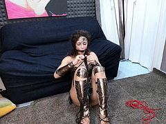 Camgirl tied up and ball gagged