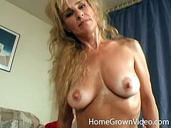 Very sexy and busty blonde mature finally fulfills her wildest fantasy of having two guys taking turns on her fuck holes
