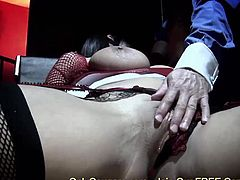 Big boobed brunette Carmella Bing riding on huge cock and taking sperm load in her mouth