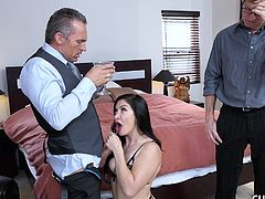 Lea wants to fuck a man with a bigger cock, so she invites a hunk back to her place and makes her husband watch as she gets down and dirty. She deepthroats that huge penis and slaps it against her big tits. Her husband is so humiliated.