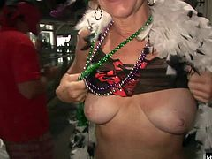 Next, youll see another babe showing you her hooters, that have tassels on the nipples. Finally, a chic will take off her panties, to let you see her hot pussy.