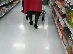 Almost Upskirt on a big booty old grandma