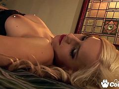 Small tits blonde Leyla Black cow rides on huge cock and gets thick cumshot on her mouth