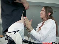 Innocent teen Sadie Holmes tied up and roughed up by big rod