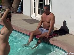 Horny wife will pleasure his dick in the pool and then get fucked hard after.