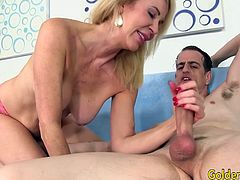 Mature blonde woman sucks a dick Then takes deep in inside her pussy and get pounded deep in many positions He spills cum over her tits