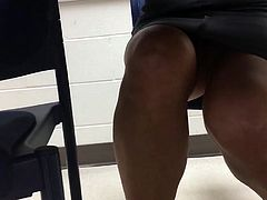 Failed upskirt of mature with sexy legs