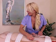 Meet a dominant masseuse who prefers getting things done her way. This perverted guy today asked for a cock massage and she's not gonna disappoint him as long as he obeys her rules. She ties him down and gags him while teasing and dominating him. Orgasm denied again and again until he cant handle it anymore.