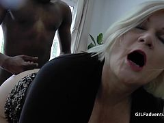 black guy fucks British Granny in her old asshole