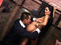 Giant Knockers Jasmine Black Fucked by fat meat bat and gets thick cumshot on her ass
