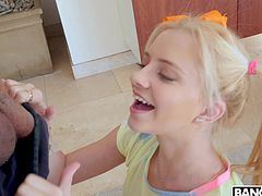 This lovely blonde loves giant black cocks and today she gets to suck on a really big one. The delivery man came over with a package, but he had something else to offer as well. She gripped his giant dong and shoved it deep down her throat.