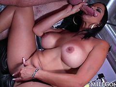 Busty milf Diamond Kitty simply cannot get enough cock. Diamond will go balls deep and choke on a cock, or bend over and take it up her big ass!