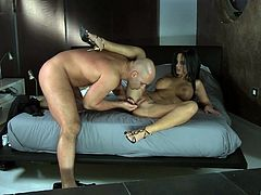 Black-haired stunner Angelika Black enjoying a stiff schlong