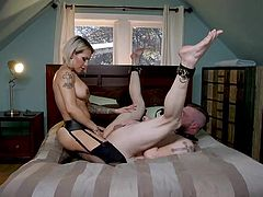 He moans louder with every stroke and asks for more. Huge tranny's penis penetrates Mike's tight asshole, as he wants her to go harder and deeper. Wow! This busty shemale with a big bubble butt will probably make him cum