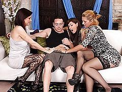 Roxanne Hall and Two Cougars Love Their Cock Friend