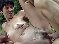 Hungarian Granny getting fucked outdoors