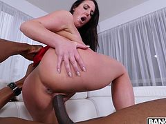 She likes her cocks to be big and black. This milf with big boobs and round ass gets stuffed with a massive black penis. Her pussy is dripping wet as she is plowed by monster black dong. She can barely fit the tip in her mouth, it's so big.