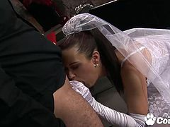 Horny Bride Tanya Cox fucking hard and eating cumshot after her wedding