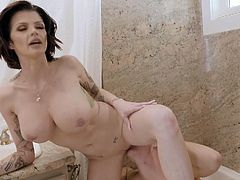 This horny milf was always horny for her hunky stepson. She got down on her knees and sucked him off in the shower, before he licked her juicy cunt. Their lust knows no bounds. They are so hot together.