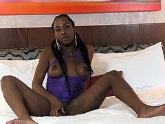 Ebony tranny masturbating in lingerie
