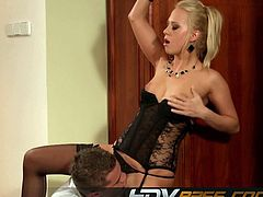 Blonde Carla Cox pussy licking and Ridding Cock