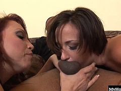 These ladies want is to suck on this guys fat cock until he provides them with a nasty facial however, in the meantime they enjoy a good titty fucking and some nut sack sucking.
