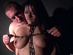 Her Dom to penetrate her clean shaved snatch with an instrument shaped like a slender dildo, connected to a fucking machine. First, she gets fucked before fingered, which is followed by her Doms cock.
