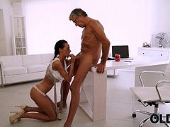 Liliane fell in love with her older boss since first working day. This tall and handsome man over sixty was in her wet dreams all the time. They left together in office one day coz of big project...