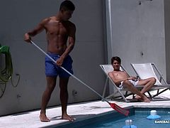 While out sun bathing at the pool, Cedric cant keep his eyes off the gorgeous Latin pool boy. After talking Nestor into a quick dip, the two kiss and head for a more private place to play. There, Cedric pulls off his trunks to reveal his stiff uncut cock and Nestor quickly goes down on it. Then Cedric gives his sexy pool boy a good dick and ass licking, before taking the Latin bottom from behind. The two bareback fuck all over the sofa, until Nestor cums, while Cedric breeds his young ass.