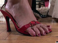 Her sexy feet and her erotic high heels, in addition to all the blowjob, pussy and ass fucking in this hot foot fetish sex scene from Eromaxx Films Ten Toe Diary.