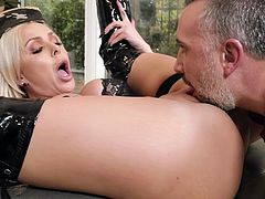 Any day that Nina can get her pussy licked, she's happy. When she sees the size of Keiran's cock, she's even happier. She happily sucks him from tip to shaft, to balls and back again, then gets tongued before getting penetrated.