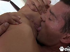 Big tits brunette Madelyn Marie fucking doggystyle a huge cock and gets cumshot on her big boobs