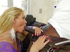 Huge black penis dives deep in throat and pussy of mega busty blond mommy Ryan Conner