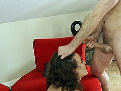 Two kinky guys talk hot Lily Love into pleasing their big cocks