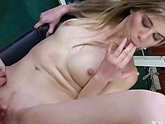 Blonde babe Melinda doing a reverse cowgirl and standing doggie anal fucking with her boyfriend. Fucking and hammering their way in their personal gym equipment ending with a messy mouth cumshot.