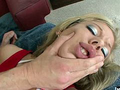 He sits next to her massaging her smooth thighs, until shes ready to take them off and bend over to get her smooth, shaved pussy fucked both while shes laying on her back and while riding, allowing you to check out her big soft ass, before her creampie.
