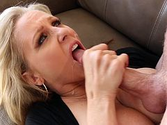 Busty Julia Ann bouncing on a throbbing wiener and moaning