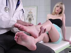 All it took was a little soft touch from the Doctors warm hands to get her pussy throbbing with delight. Bianka gets him hard in her mouth then lets him fuck her pussy while he licks her pretty feet. Shes totally into his foot fetish and lets him fuck her from behind until he pulls out to come on her pedicured toes.