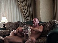 Cute blonde Penny rides his dick every which way
