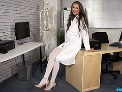 Sex-hungry nurse in white stockings Jemma takes off her clothes