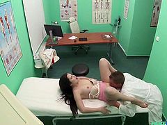 Cassie agrees to get naked for our doctor to examine her. She's not certain his tongue in her pussy is supposed to be a part of it, but it feels good, so she goes along with it. She gets into it and examines his cock with her mouth before getting a good, hard fuck.